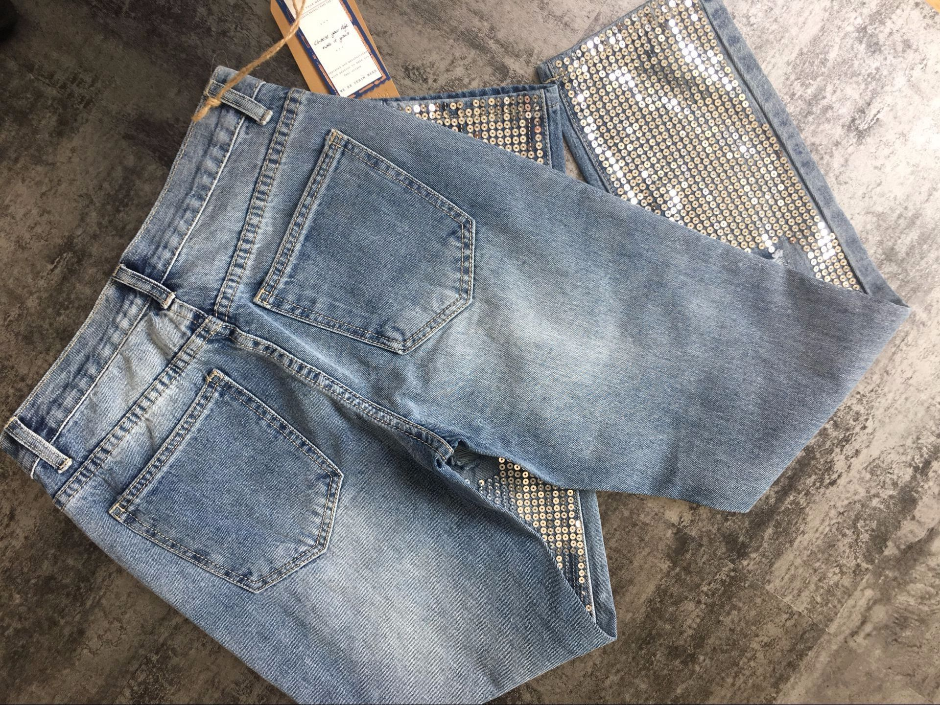 18 Fashion Hole jeans woman ripped jeans for women jeans Sequined mujer femme denim jean pants Scratched pantalones feminino 23