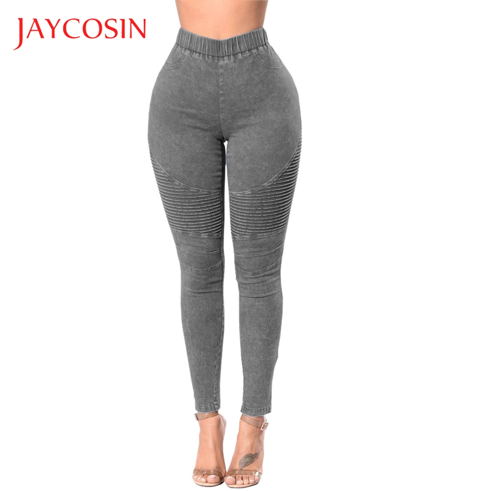JAYCOSIN High Waist Stretch Hose Jeans Women Leggings Skinny Slim Fitness Pants Trousers Cotton Blend  Material Daily Occasion
