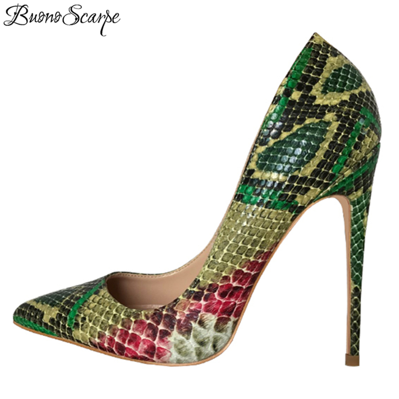 BuonoScarpe Sexy Snake Pattern High Heel Pumps Women High Heel Party Shoes Shallow Mouth Green Pointed Toe Big Size 44EU Shoes blue extrem high heel shoes 2018 snake printing women shoes fashion shallow mouth pumps woman wedding shoes big size
