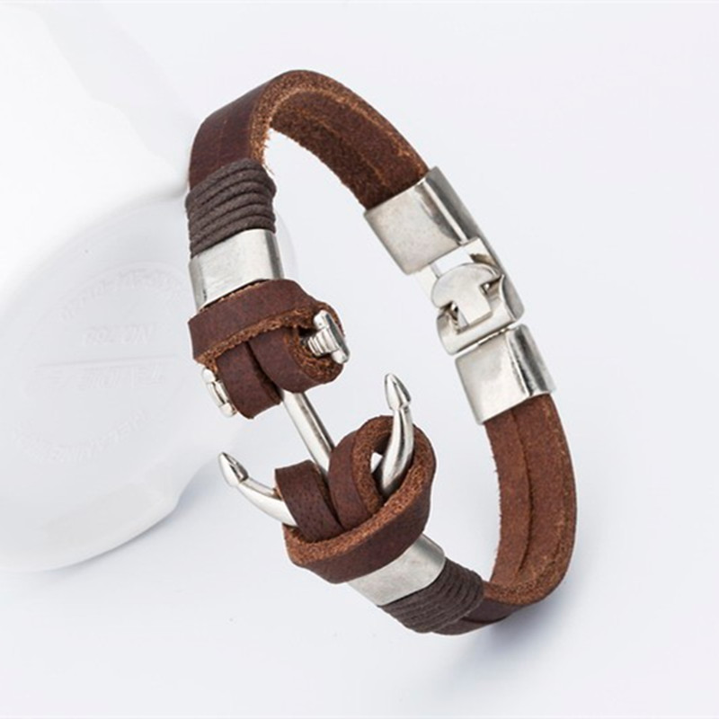 Endless August New Pirate Style Alloy Stainless Steel Anchor Bracelet For Men Genuine Cow Leather Bracelet Jewelry Bangles
