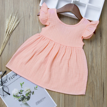 Baby Dresses Girl Toddler Kids Baby Girl Dress Solid Ruffled Fly Sleeve Vintage Princess Dresses Clothes