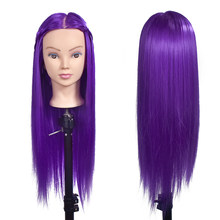 "26"" 100% Synthetic Fiber Hair Hairdressing Training Head Cosmetology Mannequin Head For College + Braid Tool Set(China)"