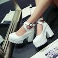 2016 sapatos mulher Marca serrilhada Fashion10CM Platform high heel Bombas com tira no tornozelo sapatos de plataforma das mulheres tamanho grande preto/branco