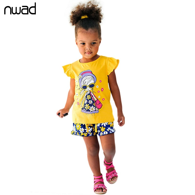 NWAD Summer Kids Clothes Set Girls Clothing Sets Children Cartoon Printing T-shirt+Shorts Suits Baby Girl Clothes CF105 sodawn baby girl clothes fashion cartoon girls summer set clothes baby suits kids t shirt pants children clothing set