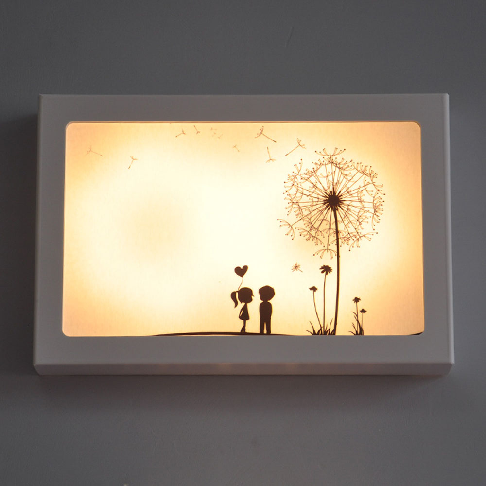 Fashion Creative Cartoon White Border Wall Lamps 110v-220v 12W Ultra-thin PVC  Can Be Replaced Painting Heart Led Wall Lamp m sparkling td303 creative cartoon 3d led lamp
