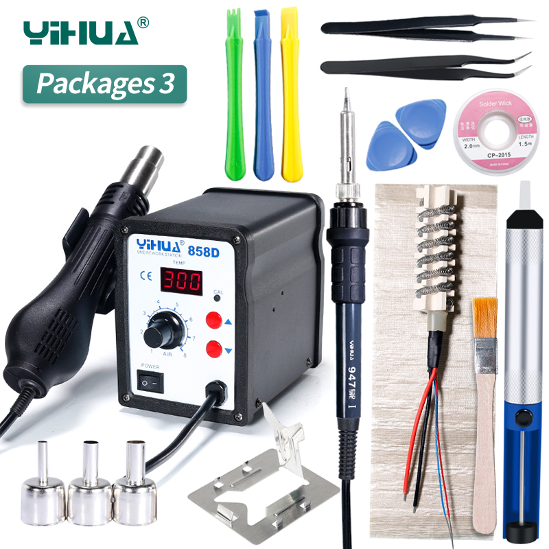YIHUA 858D Soldering Station Large Volume Hot Air Gun Soldering  With Electronic Iron Gift Welding Station hot selling yihua 926 adjustable temperature electronic soldering iron station