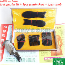 Wholesale & Retail Traditional Acupuncture Massage hard box Gua Sha kit 5pcs/set  +1pcs guasha chart +1pcs comb 100% ox horn  цены