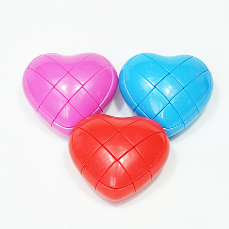 YJ Heart 3x3x3 Creative Heart-shaped Magic Cube Red/Blue/Pink Speed Puzzle Cube Kids Toys Educational Toy Free Shipping