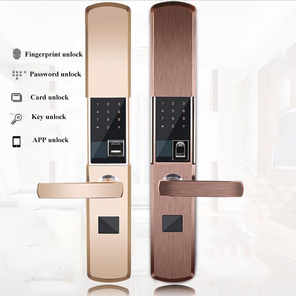 Cerradura de la huella Digital para el hogar antirrobo puerta cerradura Keyless bloqueo con contraseña Digital APP desbloqueo electromagnético bloqueo de la tarjeta