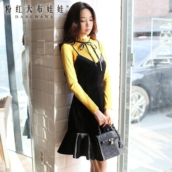 original dresses women 2017 new autumn winter korean fashion vintage temperament velvet dress female wholesale reflection