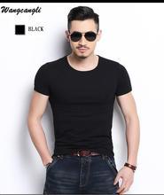 Wangcangli Brand Cotton Solid Color New 2017 Summer combat shirt T-shirt Fashion Short sleeved casual real madrid t shirt men