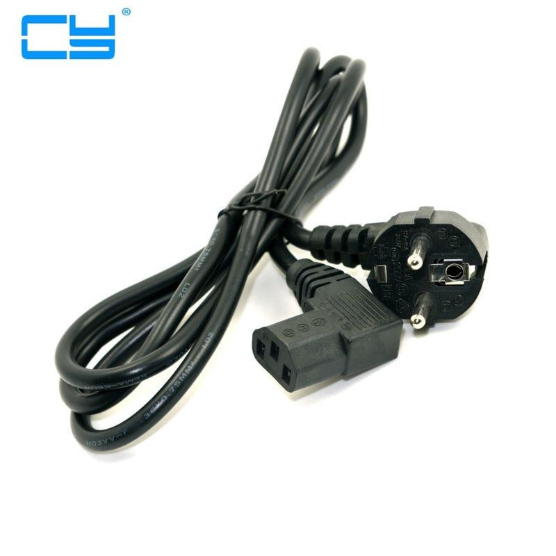 Europa UE europeia plug Nema 5-15 P para IEC C13 Plana Esquerda Angulada cabo adaptador cabo de alimentacao para LCD LED TV Wall