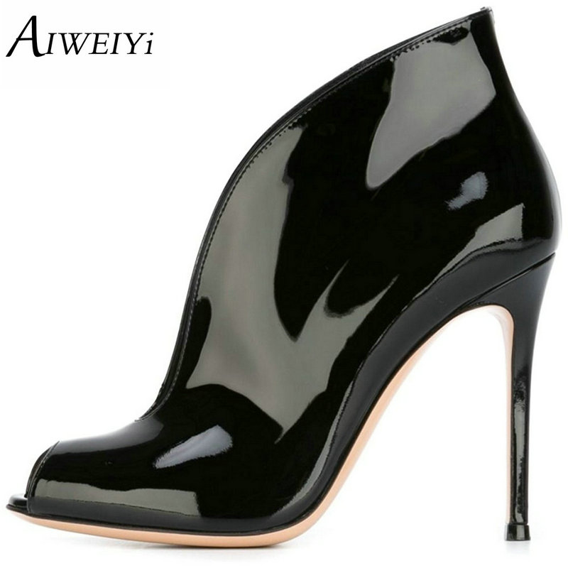 AIWEIYi Womens Peep Toe High Heels Stiletto Heel Slip On Platform Pumps Cutouts Spring Autumn Ladies Wedding Shoes Casual Pumps taoffen ladies stiletto high heels peep toe shoes shoes women wedding lace sexy casual slip on platform pumps size 31 43 pa00382