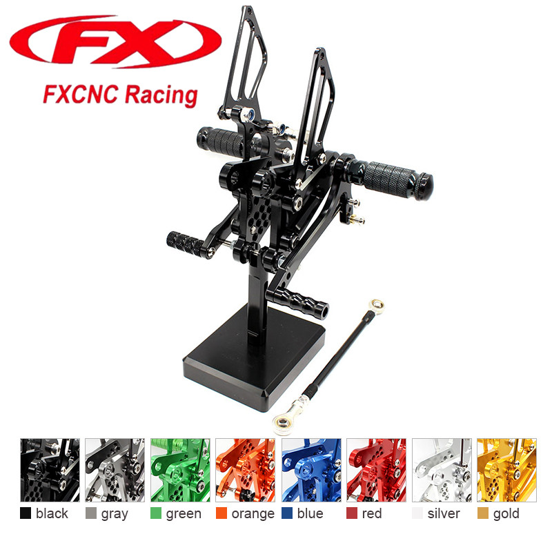 FX CNC Aluminum Adjustable Motorcycle Rearsets Rear Set Foot Pegs Pedal Footrest For KAWASAKI Ninja ZX6R ZX636 2009 - 2015 2014 morais r the hundred foot journey