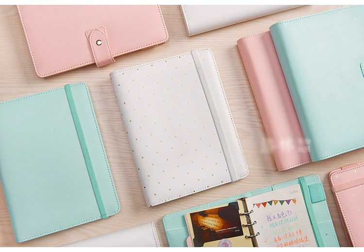 ФОТО Macaron leather spiral notebook Original office personal diary/week planner/agenda organizer Cute ring stationery binder A5 A6
