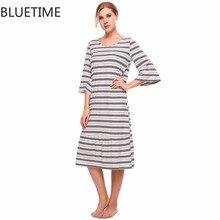 Зимние хлопковые 3/4 рукав полосатый Для женщин Ночная ночную рубашку женские свободные Midi ночная рубашка Цельнокройное пижамы Ночное платье