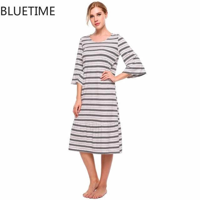 a91a7d0108 Winter Cotton 3 4 Sleeve Striped Women Night Gown Sleepshirt Female Loose  Midi Nightgown Nightwear Shift Sleepwear Night Dress
