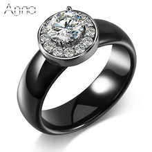 A&N Hot Sale Cubic Zircon Wedding Rings Black&White Unique Design Huge Zircon Delicate Cabochon Fashion Ceramic Rings For Women
