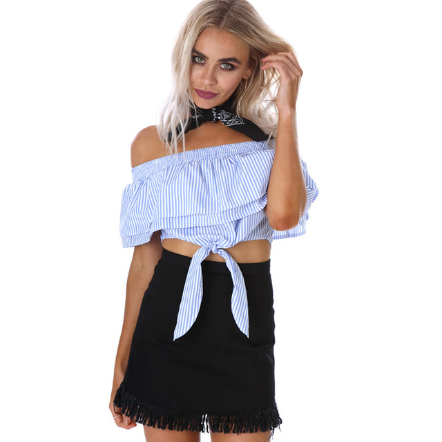 874a560cc8f Women Blouses Summer Fashion Bow Ruffles Slash Neck Sexy Off Shoulder Crop  Tops Cute Blue And White Striped Blouse Shirts