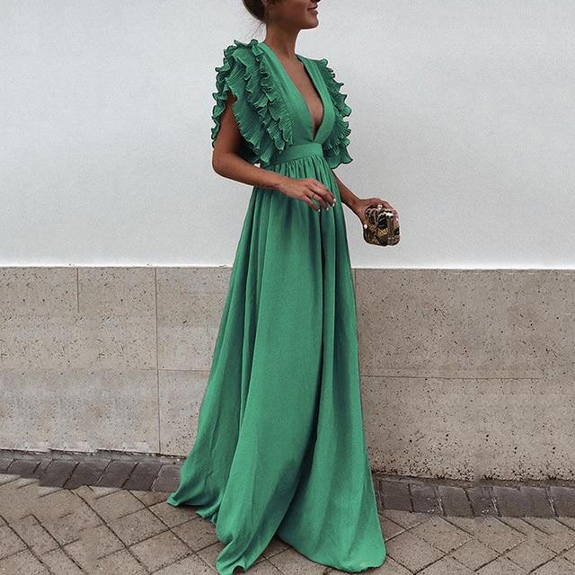 Women Summer Maxi Dress Elegant Ladies Ruffles Petal Sleeveless Backless Party Sundress Sexy Deep V-neck Backless Long Vestidos 2