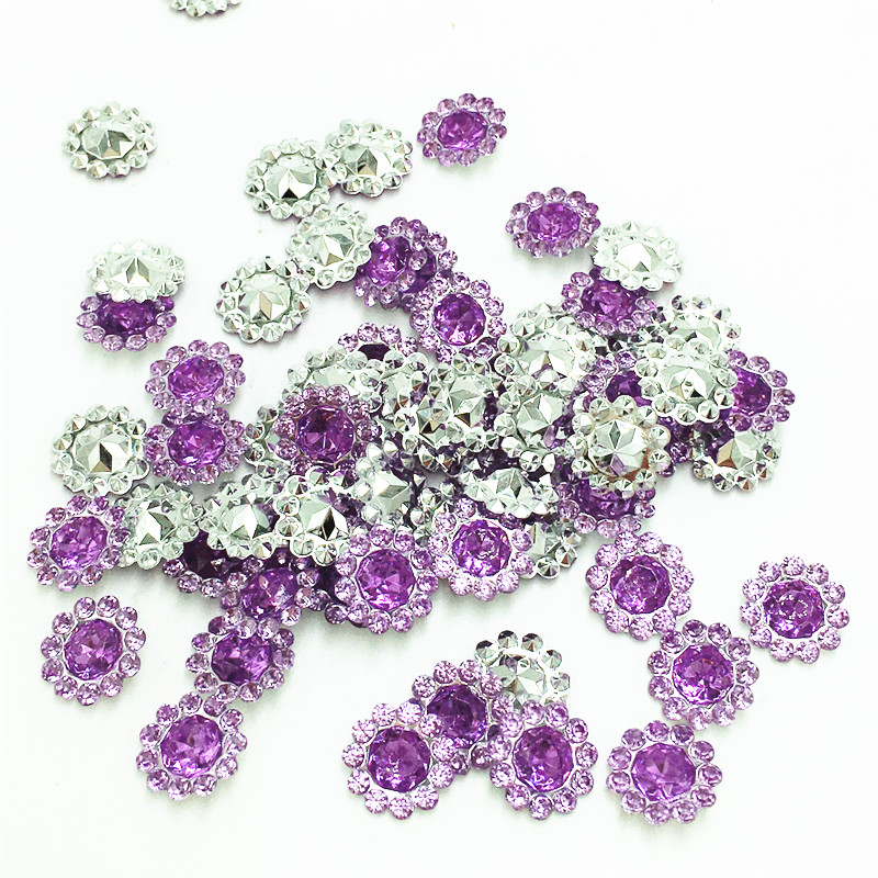 200 шт. 11 мм фиолетовый цвет кристалла акриловые горный хрусталь Круглый подсолнухи Аппликации/Свадьба Ремесло украшения
