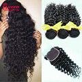 Peruvian Virgin Hair with Closure Peruvian Deep Wave 3Bundles with Closure 100% Human Hair Peruvian Curly Hair with Lace Closure