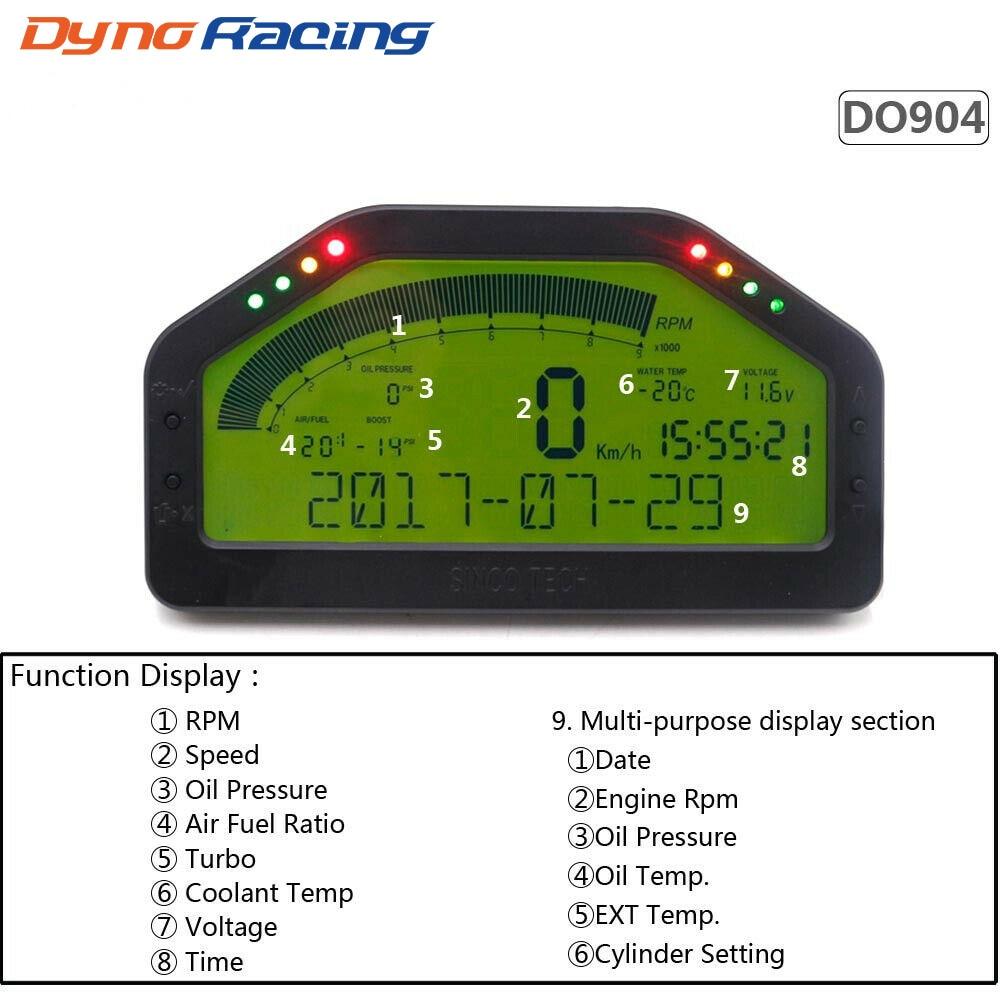 LCD numérique 9 in1 jauge multifonction voiture tableau de bord tachymètre jauge de LED Kit de capteur complet voiture compteur rallye jauge DO904
