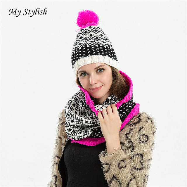 3cd41836f53 Women Crochet Hat Fur Wool Knit Beanie Warm Cap+Scarf Shawl Suit My Stylish  Store Nov 17