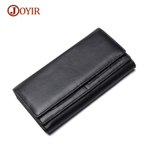 JOYIR Men's Genuine Leather Wallet Men's Purse Fashion Long Hasp Wallet Men Card Holder Coin Purse Male Wallet Money Bag Men's