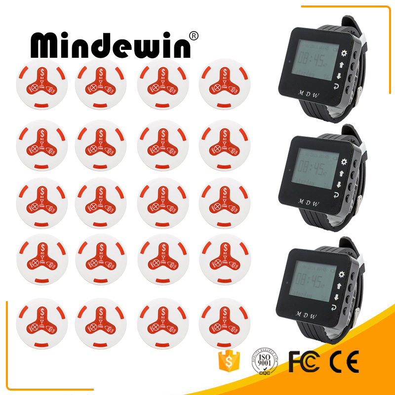 Mindewin 2017 20pcs Smart Call Transmitter Button +3 Watch Receiver Restaurant Pager Wireless Calling System Catering EquipmentMindewin 2017 20pcs Smart Call Transmitter Button +3 Watch Receiver Restaurant Pager Wireless Calling System Catering Equipment