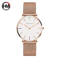 Dámské hodinky Vysoká kvalita 36mm Japonský křemenný pohyb Ženy Nerezavějící ocel Rose Gold Vodotěsné hodiny Relogio Feminino