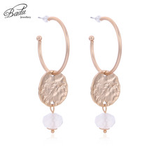 Badu Korean Style Hoop Earring Golden Round Geometric Opal Crystal Pendant Triangular Shape Exaggerated Jewelry Wholesale