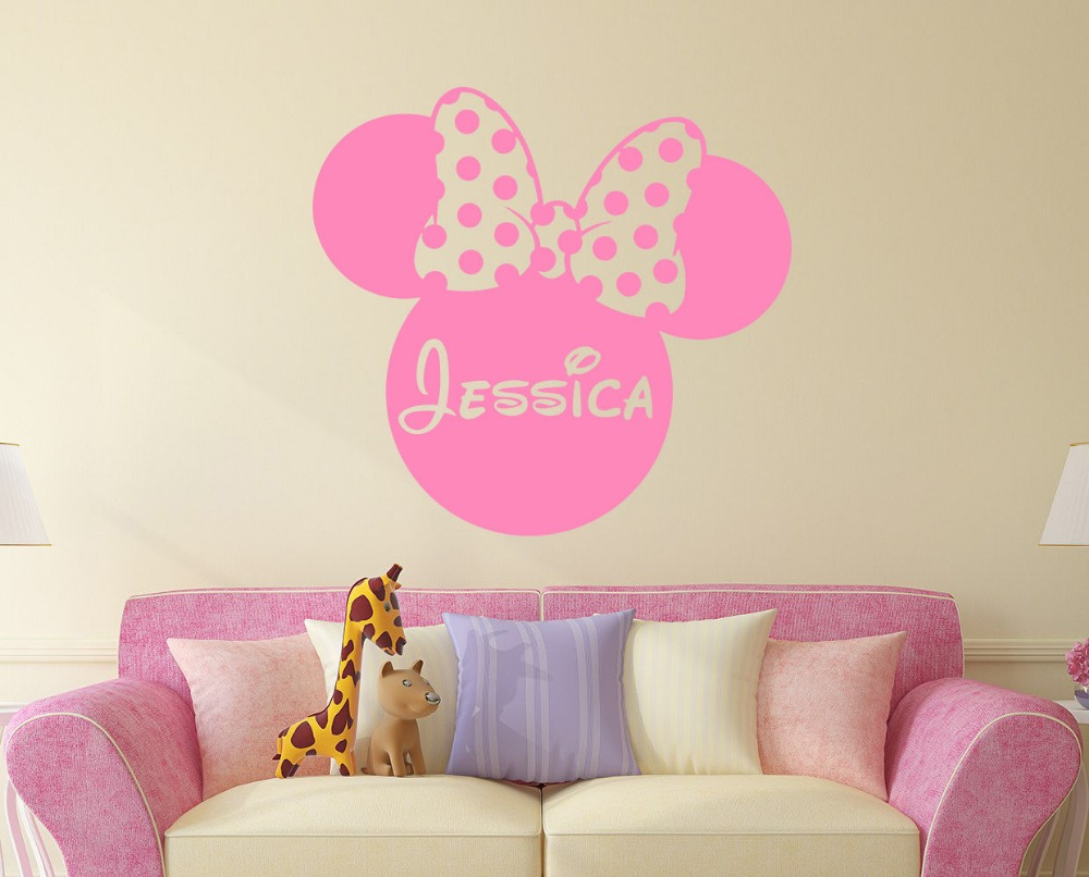 popular minnie mouse customized buy cheap minnie mouse customized mickey mouse minnie personalized custom girl name vinyl mural wall sticker pink decals kids nursery room