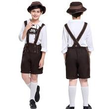 Kids Boy German Bavarian Lederhosen Outfit Oktoberfest Clothing Peasant Costume Overalls Hat Suit For Teen Child S-XL