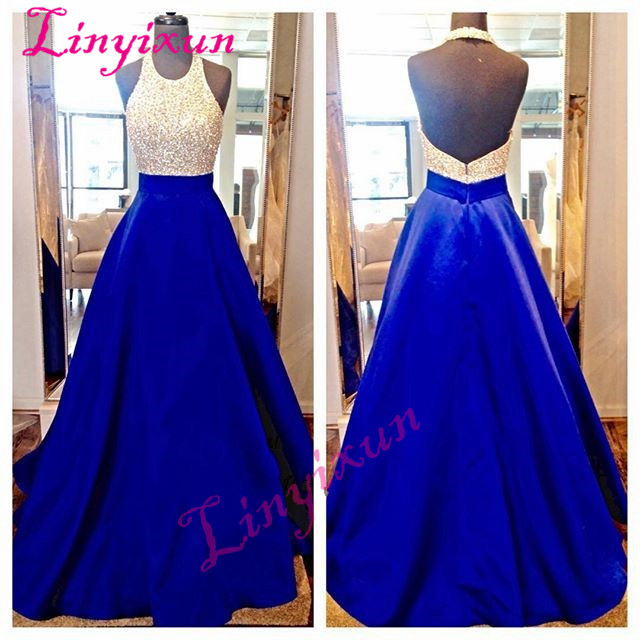 2018 Royal Blue Pink Halter Backless   Prom     Dresses   Long Satin Pearls Floor Length Vestido de Formatura Formal Evening Party Gowns