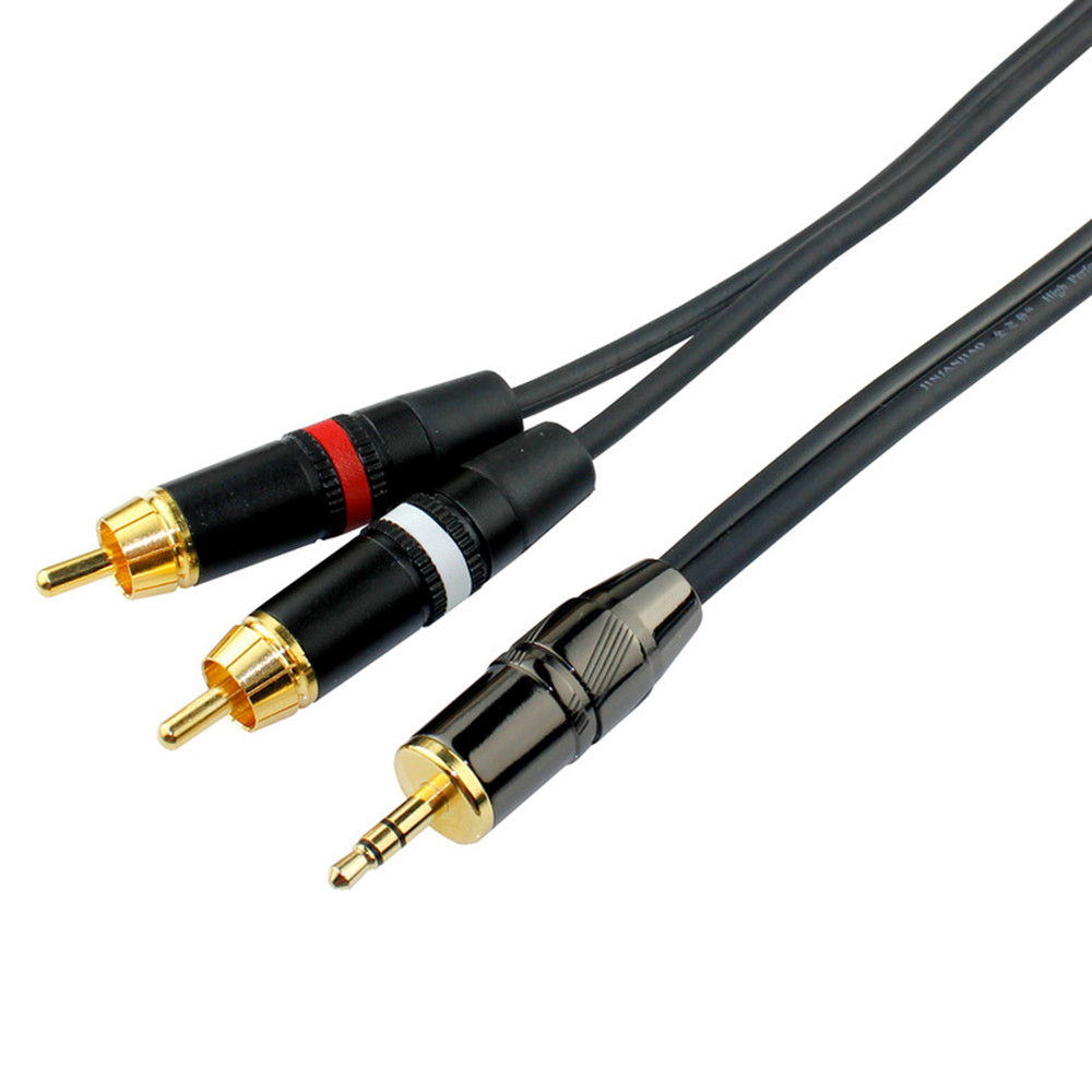 OFC 3.5mm Jake Stereo Male Plug Connector Cable to two RCA Male ...