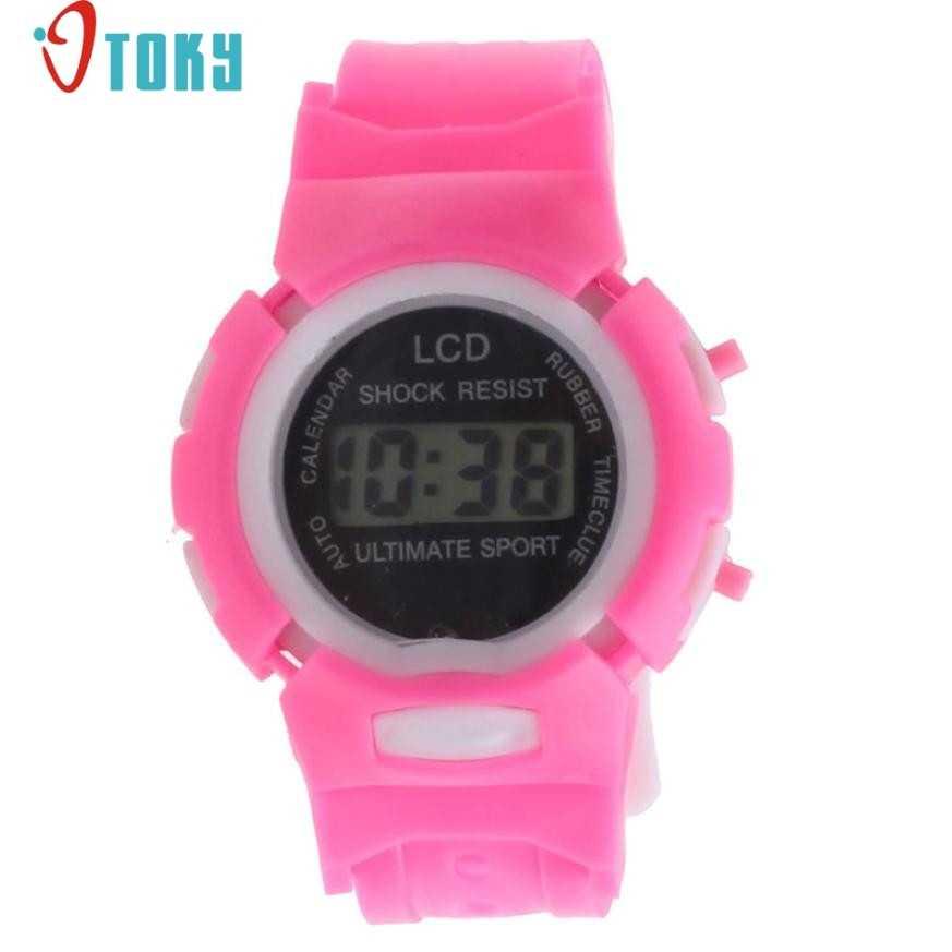 Neuartige Design Jungen Mädchen Student Zeit Sport Elektronische Digital LCD Armbanduhr freies verschiffen jy14 Dropshipping