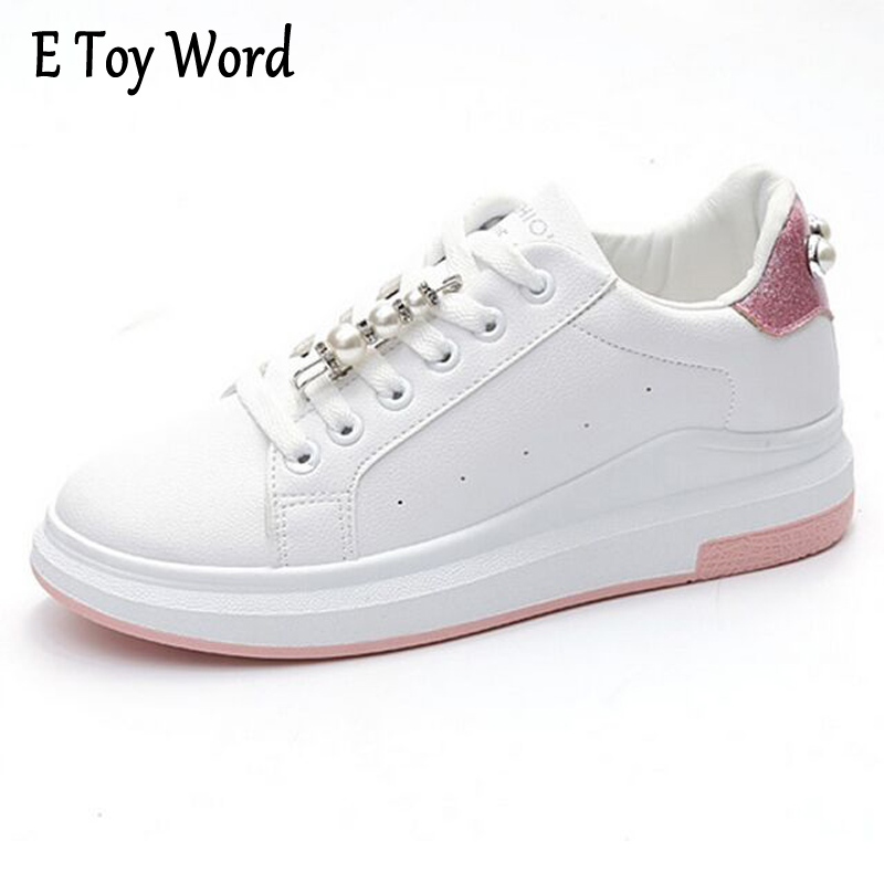 E TOY WORD Spring Autumn Pearl Glitter Shoes Woman Loafers Women Shoes Lace Flats Casual Zapatos Mujer Comfortable Ladies Shoes e toy word canvas shoes women han edition 2017 spring cowboy increased thick soles casual shoes female side zip jeans blue 35 40