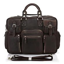 7028R Free Ship New Arrival Special Offer Silt Pocket Rare Crazy Horse Leather Men's Briefcase Laptop Bag Men Handbags