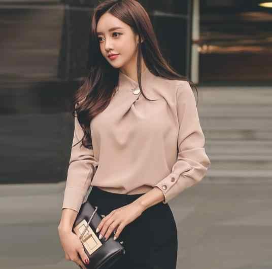 Alta qualidade 2018 primavera gola trabalho escritório ol manga longa senhora casual chiffon pulôver blusa caqui e401