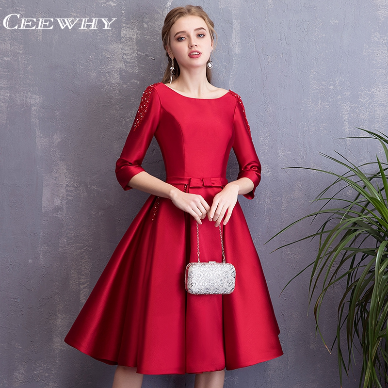 CEEWHY Half Sleeve Open Back Satin   Dress   Elegant Knee Length   Cocktail     Dresses   Beaded Vestidos de Coctel Sukienka Koktajlowa