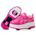 2017 niños de los niños zapatillas de deporte de moda extraíble con dos ruedas de skate roller shoes ultraligero niños niñas adolescentes shoes 28-40