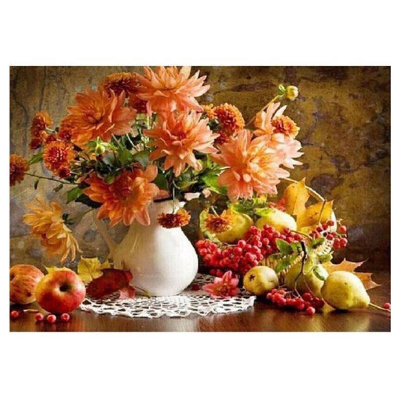 Frameless Canvas Art Oil Painting Flower Painting Design: Frameless Flower Fruit DIY Digital Oil Painting By Numbers