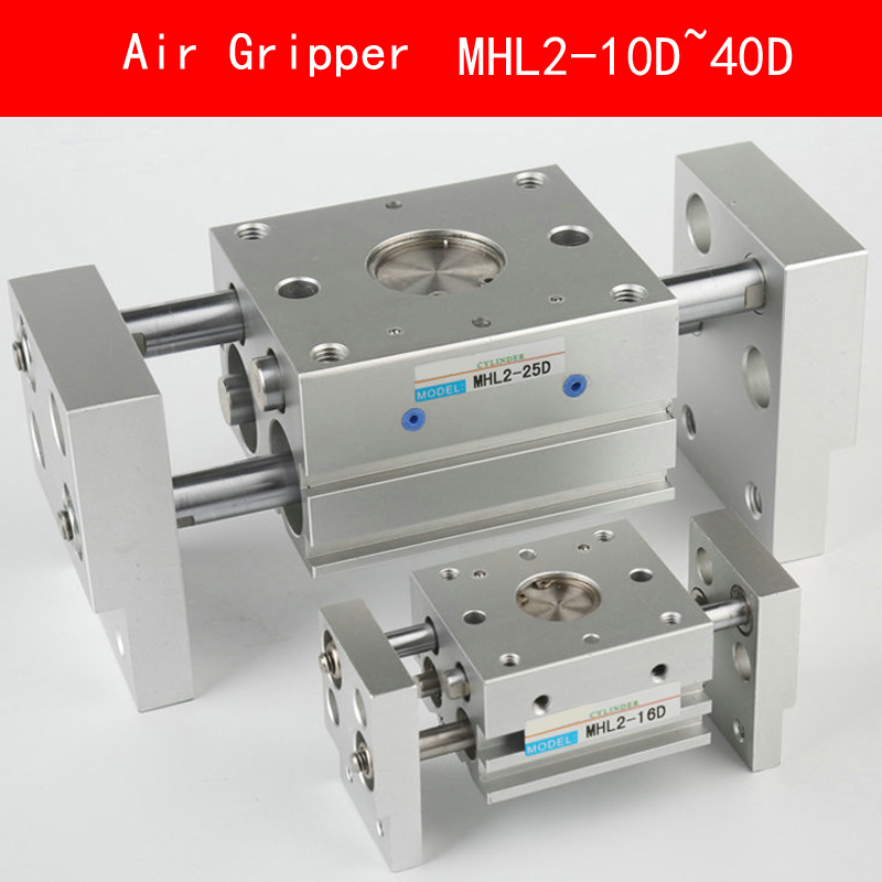 Aluminum MHL2 10D 16D 20D 25D 32D 40D Double Acting Pneumatic Gripper Wide Type Air Gripper Parallel Cylinder Clamps Bore 10-40m high quality double acting pneumatic robot gripper air cylinder mhc2 25d smc type angular style aluminium clamps