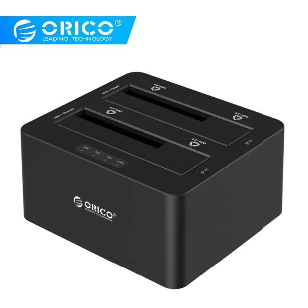 ORICO 6629US3 Station d'accueil pour disque dur externe 2 baies USB3.0 à SATA 2.5 3.5 po avec Support de Clone hors ligne protocole UASP 16 to