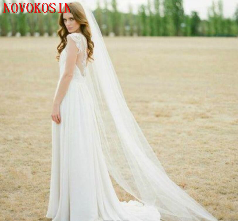 Купить с кэшбэком 2019 Tulle White Ivory Bridal Wedding Veil 5 Flowers Appliqued Beading Crystal One Layer Veil Bride Accessories