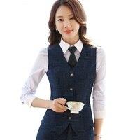 Fashion business plaid women vest work wear Slim V Neck Formal office ladies elegant Interview vest coat plus size uniforms