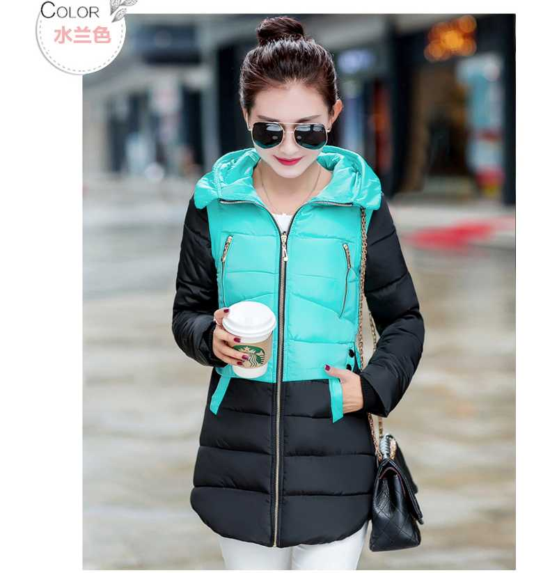 Winter Woman Medium-Long Coat Thickening Slim Plus Size Slim Waist With Hood Overcoat Wadded Cotton-Padded Jacket H5333 2015 new mori girl medium long thickening with a hood color block decoration cotton padded jacket wadded jacket