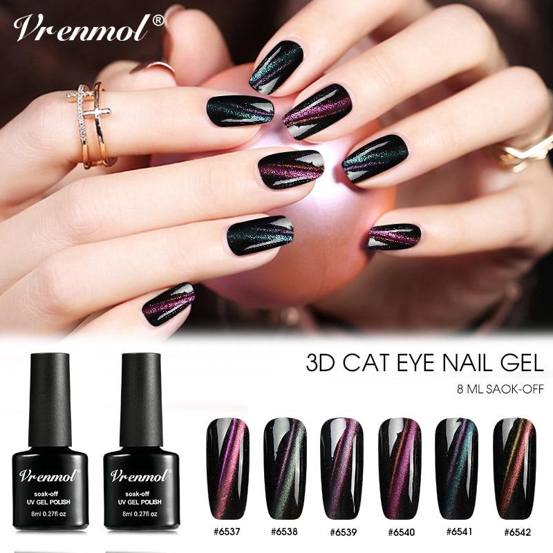Vrenmol 8ml 3D Cat's Eye Nail Gel Polish Chameleon Magnetic Hybrid Varnishes UV Gel Nail Art DIY Gel Lacquer Long-lasting