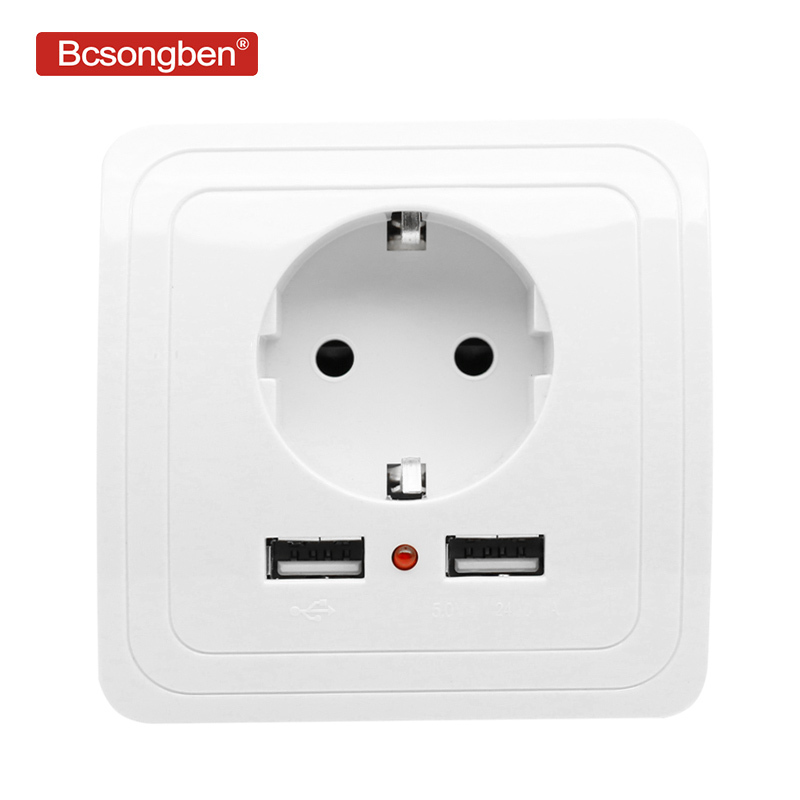 Bcsongben Smart Home POP Dual USB Port Wall Charger Adapter Charging 2400ma Wall Charger Adapter EU Plug Socket Power Outlet